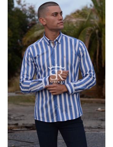 Camisa Bones Brand 18376 rayas azules