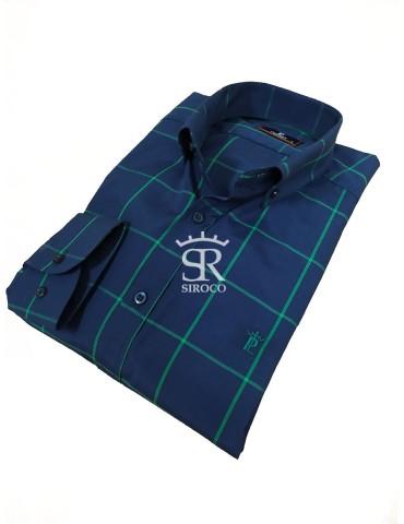 Camisa PL Marino cuadro verde