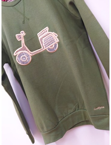 SUDADERA VESPA COOL BIKE VERDE