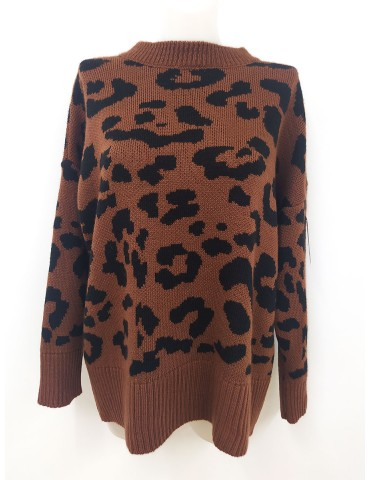 JERSEY ANIMAL PRINT MARRÓN